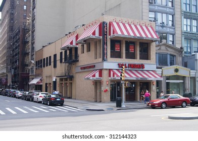 New York, New York - August 30, 2015 - A TGI Friday's location at 34 Union Square E near New York City's Union Square Park.