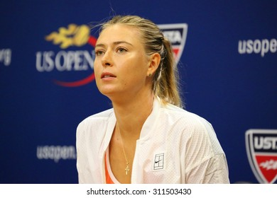 NEW YORK - AUGUST 30, 2015:Five times Grand Slam Champion Maria Sharapova during press conference before US Open 2015. Next day Maria withdraws from US Open with leg injury.