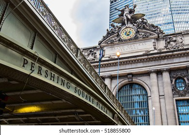 New York, August 30, 2016: An overpass at the Pershing Square at the main entrance to the Grand Central terminal.