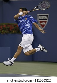 NEW YORK - AUGUST 30: Bjorn Phau of Germany returns ball during 2nd round match against Roger Federer of Switzerland at US Open tennis tournament on August 30, 2012 in Flashing Meadows New York