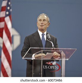 NEW YORK - AUGUST 30: Mayor Michael Bloomberg speaks at the opening ceremony of US Open tennis tournament on August 30, 2010, New York.