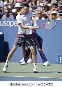 NEW YORK - AUGUST 30: Robin Soderling of Sweden returns ball during match against Andreas Haider-Maurer of Austria at US Open tennis tournament on August 30, 2010, New York.