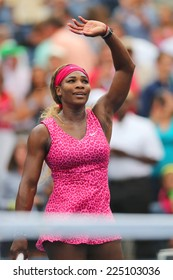 NEW YORK- AUGUST 30:Grand Slam champion Serena Williams celebrates victory after fourth round match at US Open 2014 against Varvara Lepchenko at National Tennis Center on August 30, 2014 in New York