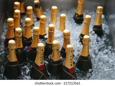 NEW YORK - AUGUST 30:Moet and Chandon champagne presented at the National Tennis Center during US Open 2014 on August 30,2014 in New York. Moet and Chandon is the official champagne of the US Open