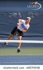 NEW YORK - AUGUST 31, 2015: Professional tennis player Dominic Thiem from Austria practices for US Open 2015 at Billie Jean King National Tennis Center in New York