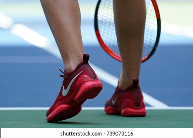 NEW YORK - AUGUST 31, 2017: Professional tennis player Elina Svitolina of Ukraine wears custom Nike tennis shoes  during her US Open 2017 second round match at Billie Jean King National Tennis Center