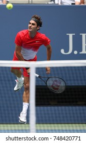 NEW YORK - AUGUST 31, 2017: Grand Slam champion Roger Federer of Switzerland in action during his US Open 2017 round 2 match at Billie Jean King National Tennis Center
