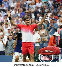 NEW YORK - AUGUST 31, 2017: Grand Slam champion Roger Federer of Switzerland celebrates victory after his US Open 2017 round 2 match at Billie Jean King National Tennis Center