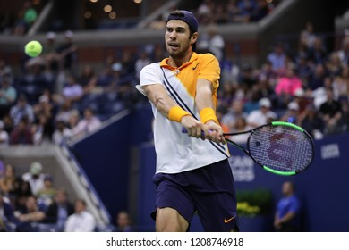 NEW YORK - AUGUST 31, 2018: Professional tennis player Karen Khachanov of Russia in action during round of 32 match at the 2018 US Open at Billie Jean King National Tennis Center
