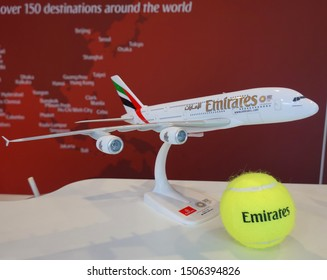 NEW YORK - AUGUST 31, 2019: The Emirates Airlines booth at the Billie Jean King National Tennis Center during 2019 US Open in New York. Emirates Airlines is one of the official sponsors of the US Open