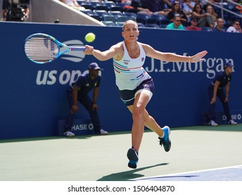 NEW YORK - AUGUST 31, 2019: Professional tennis player Karolina Pliskova of Czech Republic in action during the 2019 US Open round of 16 match at Billie Jean King National Tennis Center