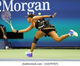 NEW YORK - AUGUST 31, 2019: Grand Slam Champion Naomi Osaka of Japan in action during her 2019 US Open third round match at Billie Jean King National Tennis Center