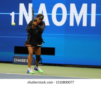 NEW YORK - AUGUST 31, 2019: Grand Slam Champion Naomi Osaka of Japan during warm up before her 2019 US Open third round match at Billie Jean King National Tennis Center