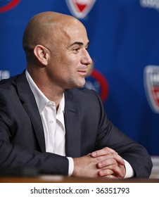 NEW YORK - AUGUST 31: Andre Agassi of USA attends press conference at US Open on August 31, 2009 in New York