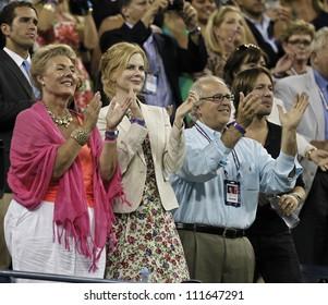 NEW YORK - AUGUST 31: Nicole Kidman & Keith Urban attend 2nd round match bettwen Andy Roddick of USA & Bernard Tomic of Australia at US Open tennis tournament on August 31, 2012 in Flashing New York