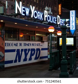 NEW YORK - AUGUST 5, 2014: View of New York Police Dept at Times Square at night