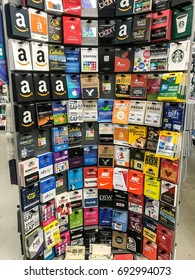 New York, August 7, 2017: Wide variety of gift cards for different retailers in a Duane Reade store in Manhattan.