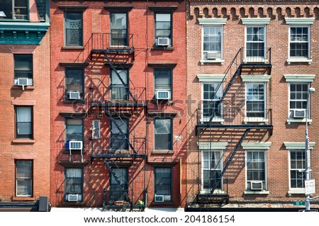 Gentil New York Brick Buildings With Outside Fire Escape Stairs, USA