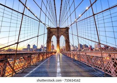 New York, Brooklyn bridge at nigth, USA