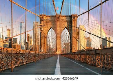New York, Brooklyn bridge with rainbow