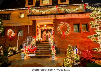 NEW YORK, BROOKLYN - DECEMBER 29, 2015 - Christmas decoration of a house in Dykers Height, New York City
