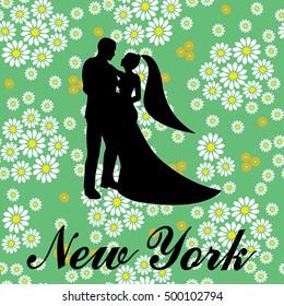 New york Brooklyn typography wedding love couple t-shirt