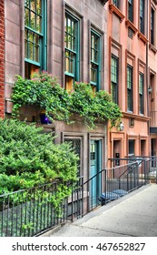 New York brownstone houses - old townhouses in Lenox Hill, Upper East Side neighborhood in Manhattan.
