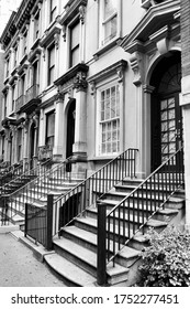 New York brownstone - old townhouses in Turtle Bay neighborhood in Midtown Manhattan. Black and white retro style.