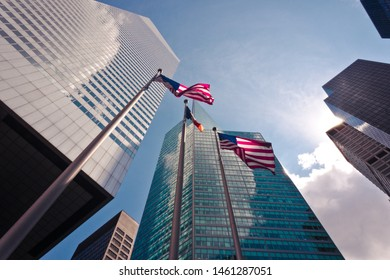 New York building with american flag perspective view