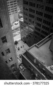New York building view from above in black and white