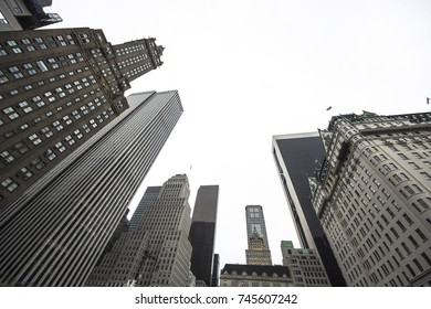 New york business center downtown skyscraper building view. New York city USA