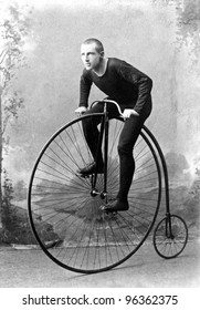 "New York, c1891: World Champion cyclist William Walker Martin, Known as ""Plugger"". 1891 won six-day race at Madison Square Garden NY, billed as long-distance championship of world. Bone Shaker bicycle"