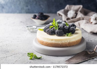 New York cheesecake or classic cheesecake with fresh berries on gray stone background
