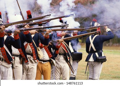 NEW YORK - CIRCA 1985: Continental soldiers firing rifles at American Revolutionary War re-enactment, NY