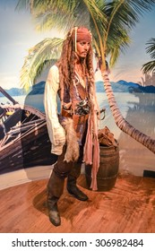 NEW YORK - CIRCA 2011: Captain Jack Sparrow aka Johnny Depp wax figure in Madame Tussaud's museum in New York