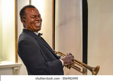NEW YORK - CIRCA 2011: Wax portrait of Louis Armstrong at Madame Tussaud's museum in New York