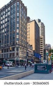 NEW YORK - CIRCA 2014: Street and the entrance to Columbus circle metro station In New York City, NY, USA