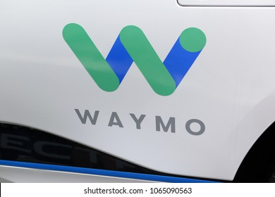 NEW YORK CIRCA APRIL 2018. WAYMO logo on prototype vehicle, which along with Google is among the firms leading the business and development of autonomous cars and self driving vehicle technology.
