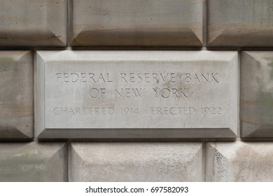 NEW YORK - CIRCA AUGUST 2017: Federal Reserve Bank sign