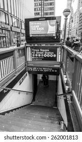 New York, circa dec 2014: times square subway entrance in Manhattan,