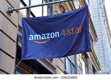 NEW YORK CIRCA DECEMBER 2018 In a departure from most Internet firms, Amazon has been opening more physical brick and mortar stores like this Amazon 4 Star store in SoHo in New York City