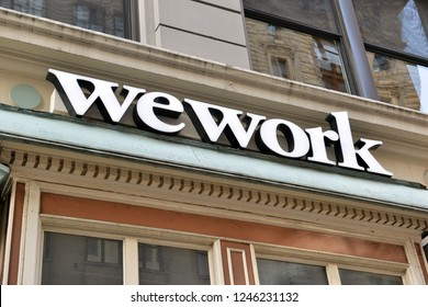 NEW YORK CIRCA DECEMBER 2018. In the current era of sharing assets, wework has become increasingly popular as smaller or temporary shared workspace especially as real estate prices rise higher