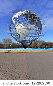 NEW YORK CIRCA DECEMBER 2018. The Unisphere, commissioned by the 1964 World's Fair was a design commemorating the space age and symbolized a theme of Peace through Understanding Queens New York
