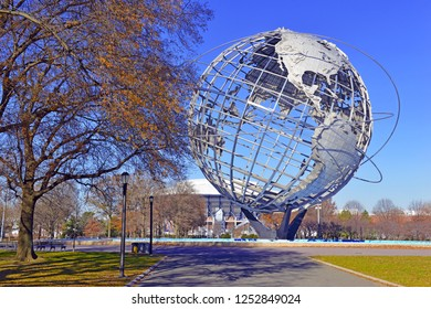 NEW YORK CIRCA DECEMBER 2018. The Unisphere, commissioned by the1964 World's Fair was a design commemorating the space age and symbolized a theme of Peace through Understanding Queens New York