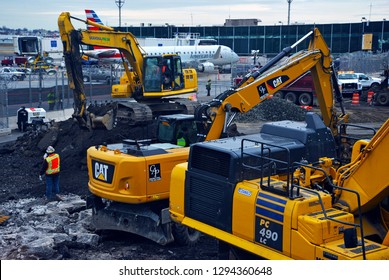 NEW YORK CIRCA JANUARY 2019. Ongoing Construction at LaGuardia Airport in New York has resulted in flight delays and inconvenience for many airline passengers and commuters.