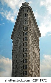 NEW YORK - CIRCA JULY 2009: The Flatiron Building circa July 2009 in New York City, USA. Flatiron building is considered to be one of the first skyscrapers ever built.