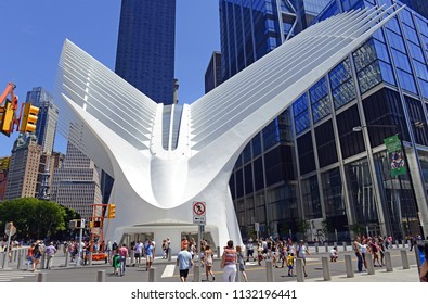 NEW YORK CIRCA JULY 2018. The World Trade Center Transportation Hub by the 9-11 Memorial in Manhattan includes an artistic design and architecture which makes a popular tourist attraction