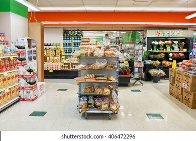 NEW YORK - CIRCA MARCH 2016: inside of food store at Manhattan, New York City. Food stores are common enough and easy to find around Manhattan