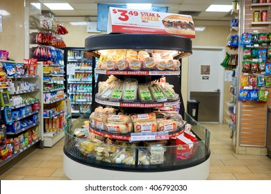 NEW YORK - CIRCA MARCH 2016: interior of 7-Eleven shop. 7-Eleven (7-11) is an international chain of convenience stores, headquartered in the American city of Dallas, Texas.