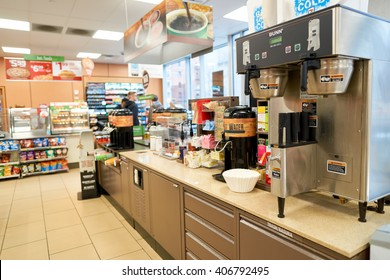 NEW YORK - CIRCA MARCH 2016: inside of 7-Eleven shop. 7-Eleven (7-11) is an international chain of convenience stores, headquartered in the American city of Dallas, Texas.